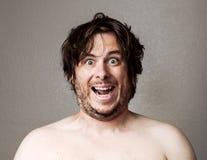 Crazy Man looking at the camera Royalty Free Stock Image