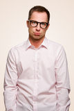 Crazy man looks like a idiot. A crazy man looks like a idiot with hanging shoulder Royalty Free Stock Photography