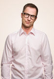 Crazy man. A crazy man with nerd glasses Stock Image