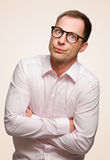 Crazy man. A crazy man with nerd glasses Royalty Free Stock Photo