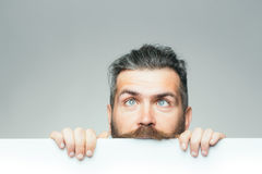 Crazy man with paper Stock Photography