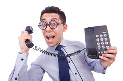 Crazy man with phone. On white Royalty Free Stock Images