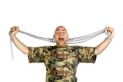 Crazy man portrait. The man portrait on isolated background Royalty Free Stock Photos