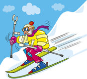 Crazy man on ski Stock Images