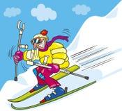 Crazy man on ski. Illustration of crazy man on ski Stock Images