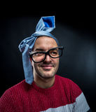 Crazy man with tie on his head, corporate party Royalty Free Stock Photo