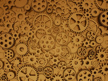 Crazy mechanics background. Bronze gears and cogs. Crazy mechanics background. Gears and cogs. 3d illustration royalty free illustration
