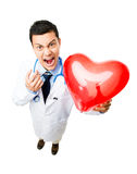 Crazy medical doctor stock image