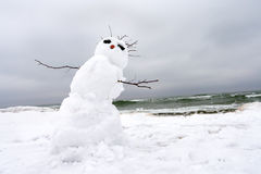 Crazy, melting snowman on a winter beach. Crazy, melting snowman on a winter beach royalty free stock photos
