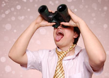 Crazy men with binocular Stock Image
