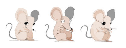 Crazy Mice Character Hand drawn vector illustration