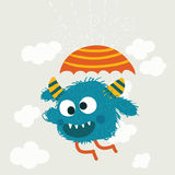 Crazy monster holding umbrella,Happy funny childish little   Stock Images