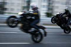 Crazy motobikers2. Dangerous sport-motorbike raid on a motorway royalty free stock photography