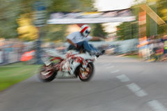 Crazy motorbike driver Stock Image