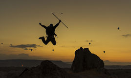 Crazy mountaineer. Summit success.Mountaineering activities.Peak and success concept and peace Royalty Free Stock Image