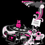 Crazy music. Funny black and pink musical background Stock Photos