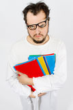 Crazy nerd. Crazy happy nerd, mad guy Royalty Free Stock Image