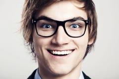 Crazy nerd. Close-up portrait of business man wearing nerd glasses Stock Photos