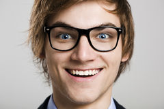 Crazy nerd. Close-up portrait of business man wearing nerd glasses Royalty Free Stock Photo