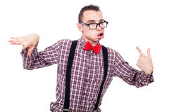 Crazy nerd grimacing Royalty Free Stock Photography