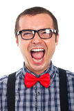 Crazy nerd man laughing Stock Image