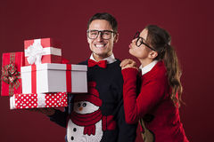 Crazy nerds with presents Stock Images