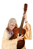 Crazy New Age Woman with Guitar Stock Photo
