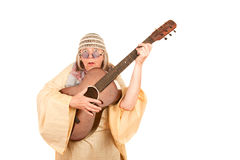 Crazy New Age Woman with Guitar Royalty Free Stock Photography