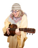 Crazy New Age Woman with Guitar. Crazy New Age Woman with Old Guitar royalty free stock images