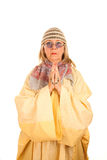 Crazy new age woman in a yellow robe Stock Photography