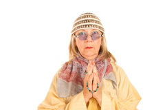 Crazy new age woman in a yellow robe Royalty Free Stock Images
