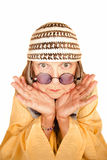 Crazy new age woman in a yellow robe Royalty Free Stock Photos