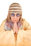 Crazy new age woman in a yellow robe stock images