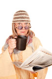 Crazy new age woman in a yellow robe Royalty Free Stock Photography