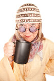 Crazy new age woman in a yellow robe with coffee Royalty Free Stock Image