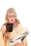 Crazy new age woman in a yellow robe with coffee Stock Image