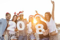 Crazy New Year Party Stock Photo