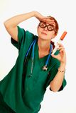 Crazy Nurse. Search for a medical cure Royalty Free Stock Photography