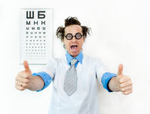 Crazy oculist Stock Photo