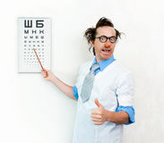 Crazy oculist Royalty Free Stock Photography