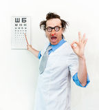 Crazy oculist Royalty Free Stock Images