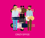 Crazy office. Collage of people on fuchsia background. Flat modern design Stock Photography