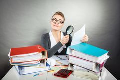 Crazy office lady at desk. royalty free stock photography