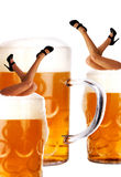 Crazy oktoberfest style with legs and beer stock image