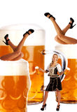 Crazy oktoberfest style with sexy legs and beer Stock Photo
