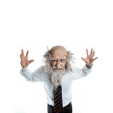 Crazy old man on a white background in studio Royalty Free Stock Photos
