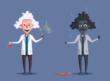 Crazy old scientist. Funny character. Cartoon vector illustration Royalty Free Stock Photo