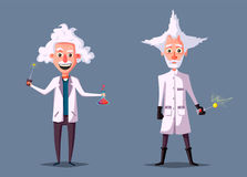 Crazy old scientist. Funny character. Cartoon vector illustration vector illustration