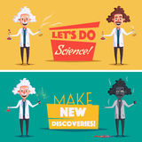 Crazy old scientist. Funny character. Cartoon vector illustration Stock Photography