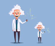 Crazy old scientist. Funny character. Cartoon vector illustration Royalty Free Stock Image